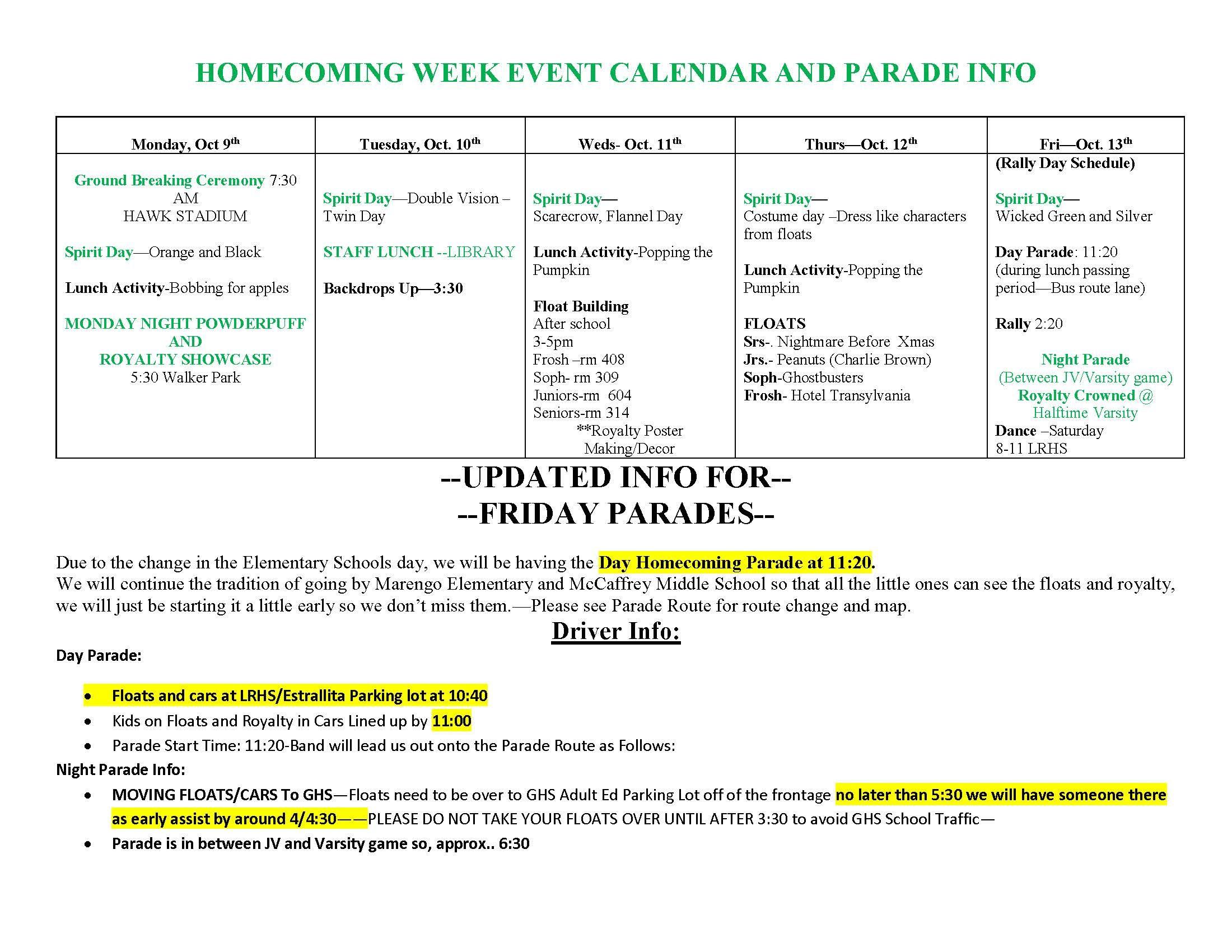 school week calendar
