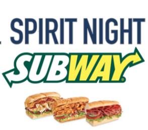 Image of Subway Spirit Night