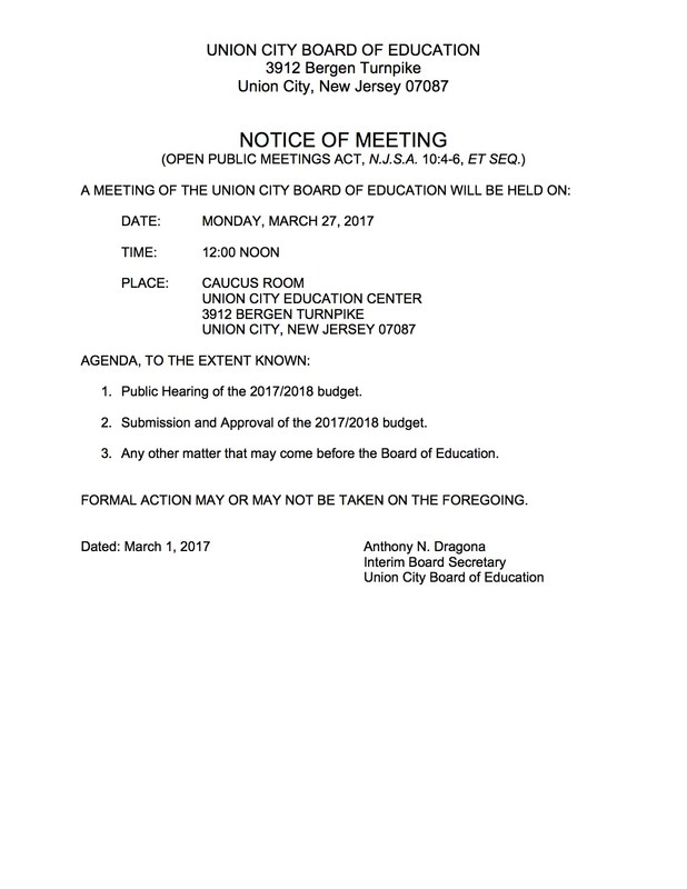 public meeting notice for monday, march 27, 2017