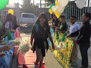 To start off the school day, students from Baldwin Park Unified's Holland Middle School are greeted by fellow classmates with well wishes and messages of positivity. Holland Middle School is one of five Baldwin Park District schools to be awarded silver recognition from the California Positive Behavioral Interventions and Supports (PBIS) Coalition for implementing strategies that promote safe and positive learning environment.