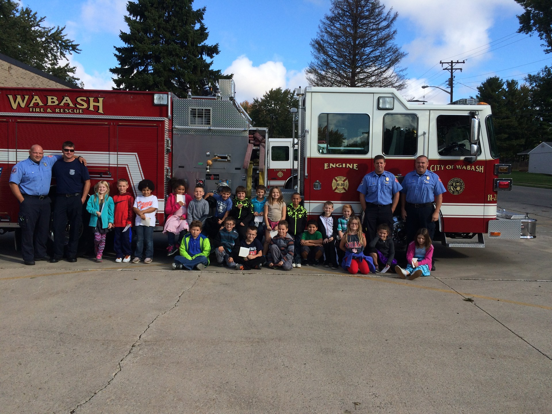 Students with firetruck.