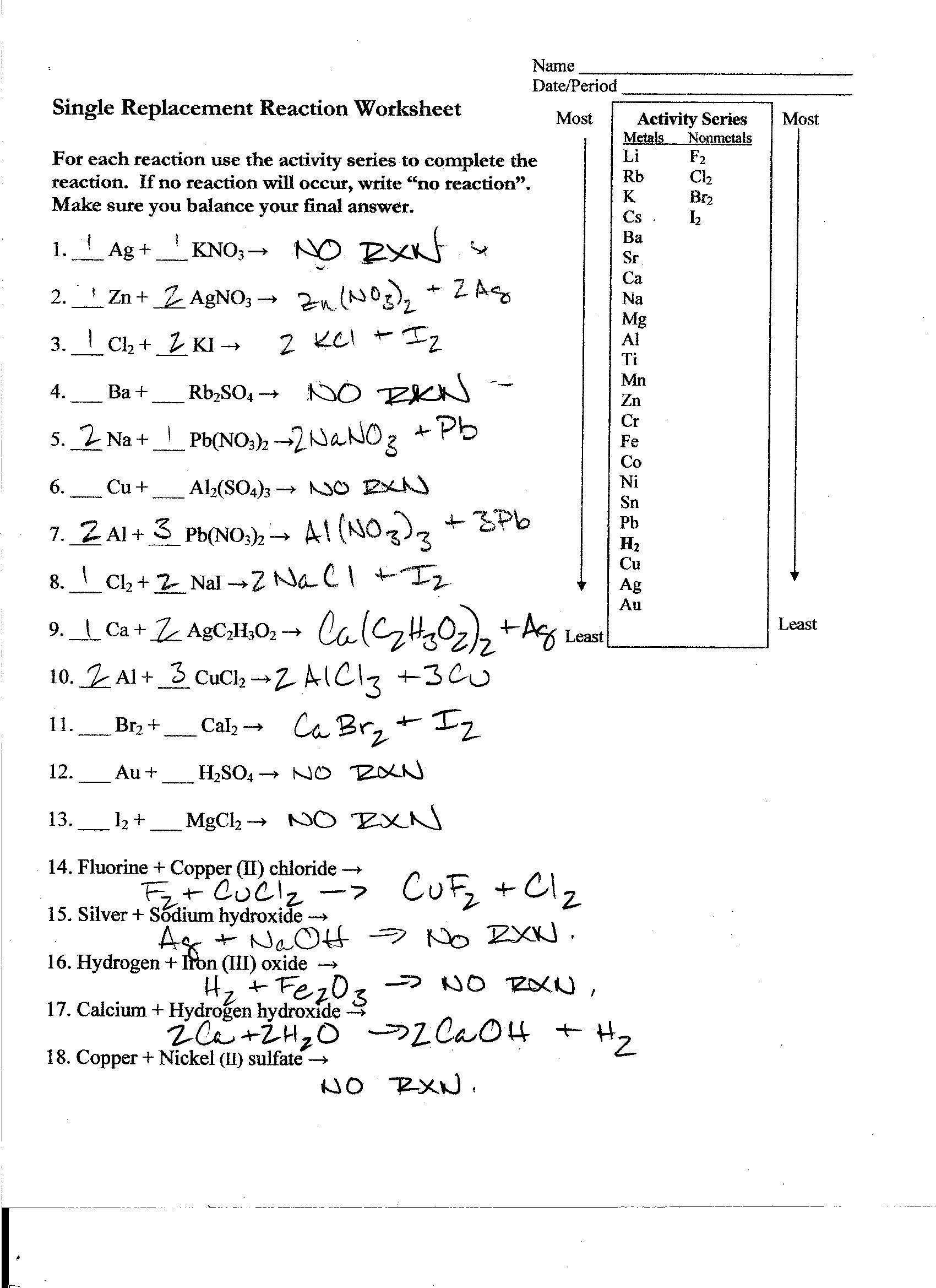 Single Replacement Reaction Worksheet Answers Worksheets ...