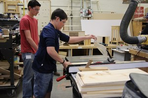 Image of students working with wood during a recent SkillsUSA competition