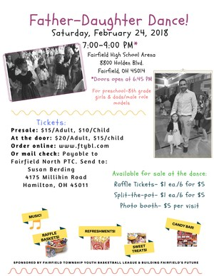 Father Daughter Dance Flyer with information on how to get tickets