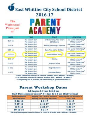 2016-17 Parent Academy Flyer