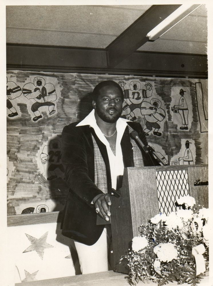 1970 CHS graduate Charlie Johnson returning to his former high school in 1980 as guest speaker at a Columbia High School banquet.  Charlie was the starting nose tackle for the Philadelphia Eagles in the 1980 Super Bowl.
