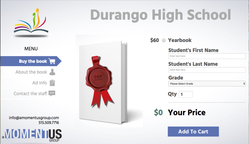 Screenshot of the DHS yearbook online order.