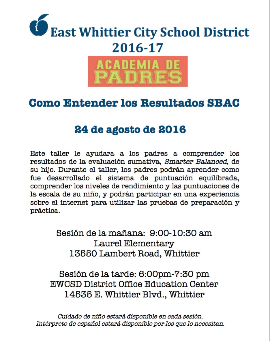 Parent Academy flyer in spanish