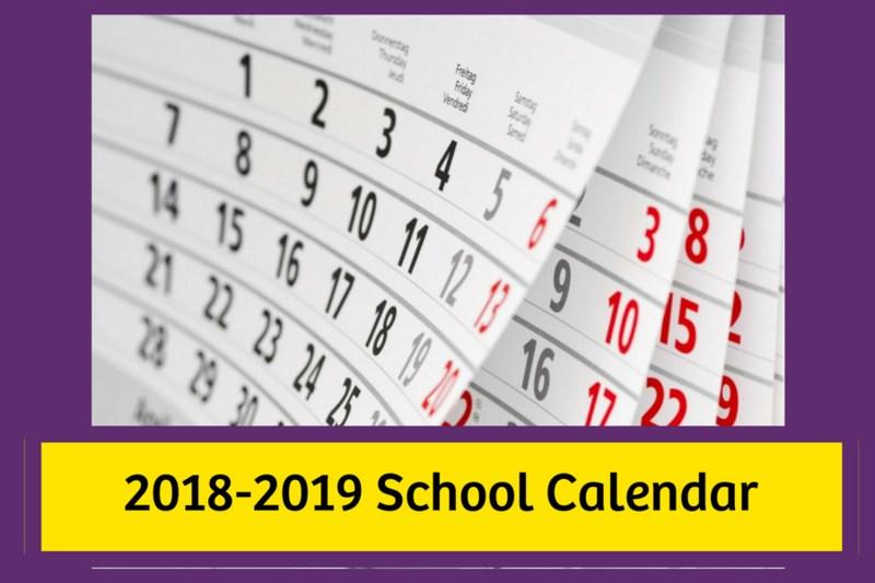 2018-2019 School Calendar Image