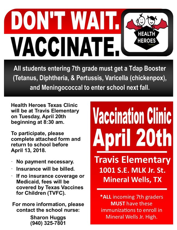 Immunization Clinic for 6th Grade on Friday, April 20 at 8:30 am