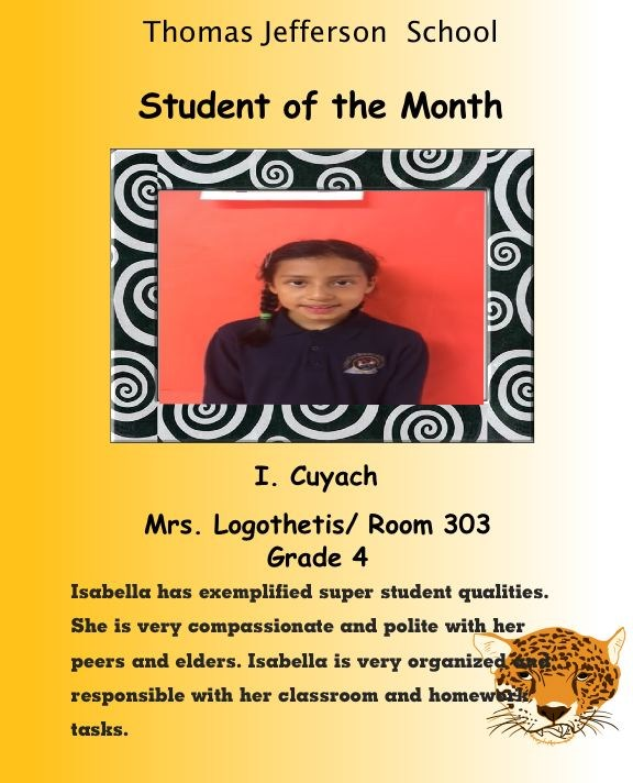 grade 4 student of the month September