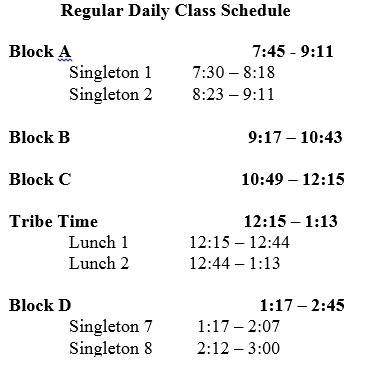 Regular Daily Class Schedule