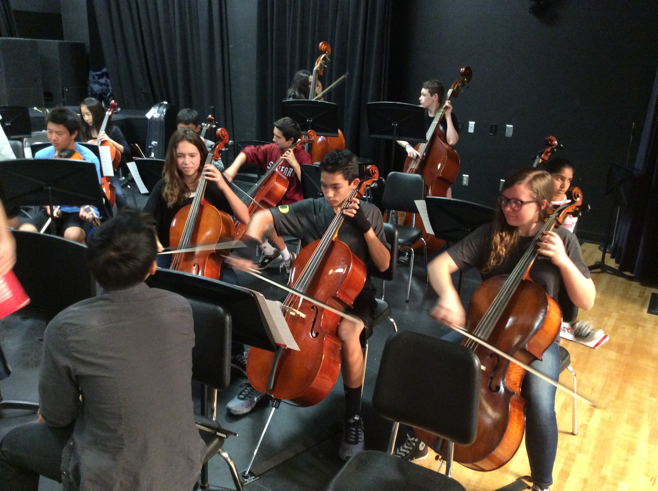 Orchestra students rehearsing for a concert.