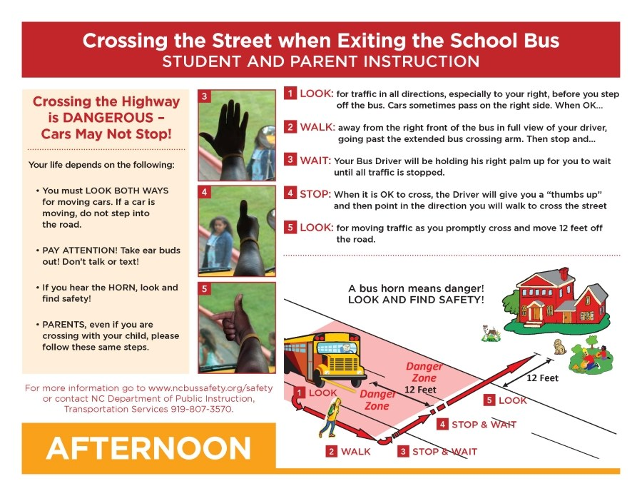 safety procedures for students to follow when boarding and exiting yellow school buses
