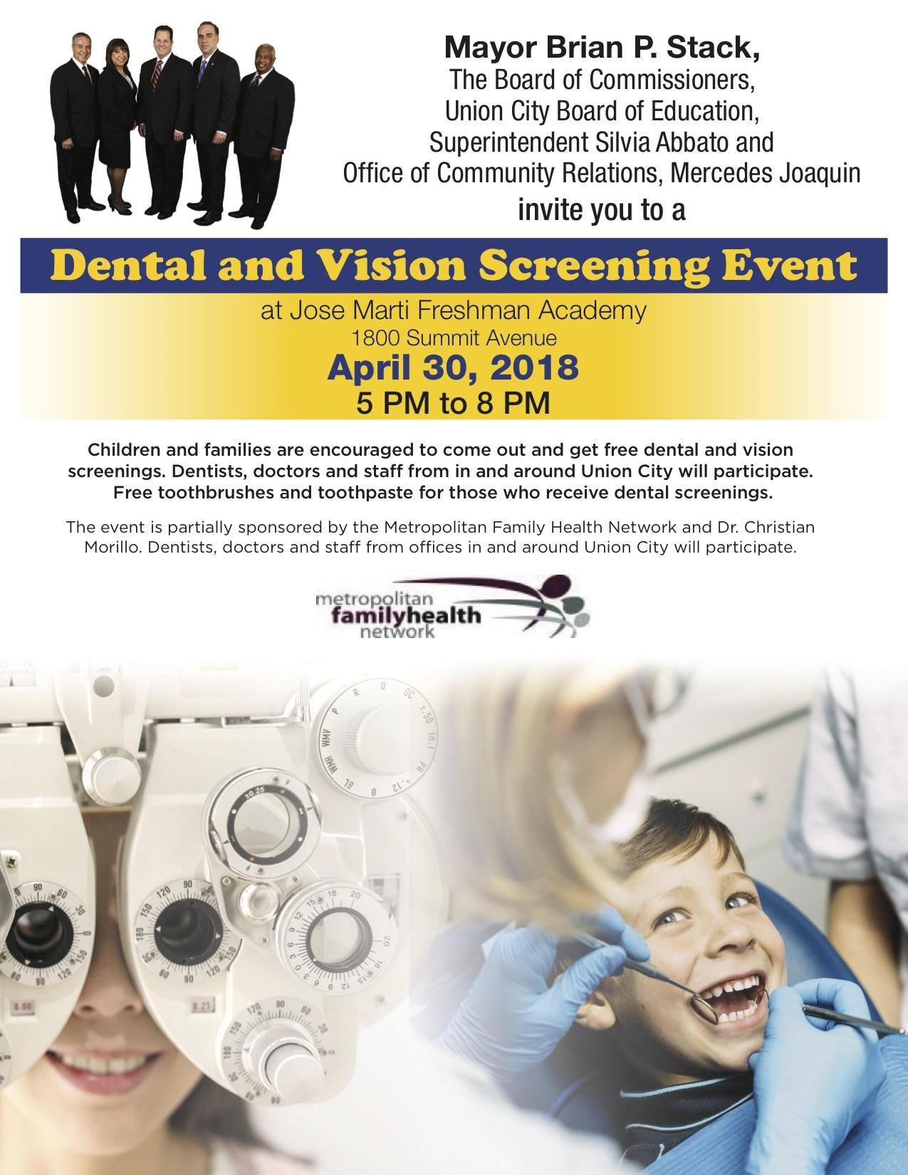 UC Dental & Vision Screening Event flyer