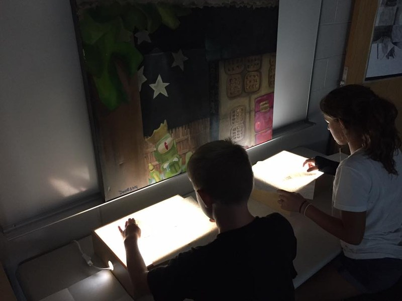 Picture of light boxes in art class