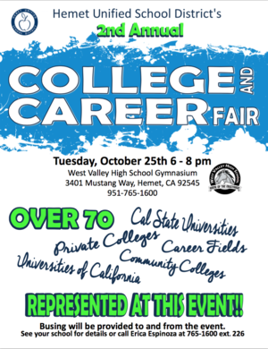 Hemet Unified's second annual College and Career Fair flyer