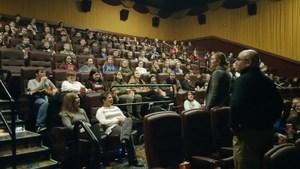Principal Jamie VanArtsdalen thanks Brett Denafo co-owner of Harbor Square Theater.jpg