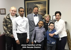 Ramil and Geo with Senator Hamilton and people from St Frances School for the deaf.