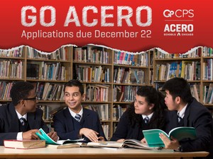 Graphic that says Go Acero and GoCPS.  Features picture of four Cruz students conversing while seated at a table in the school library