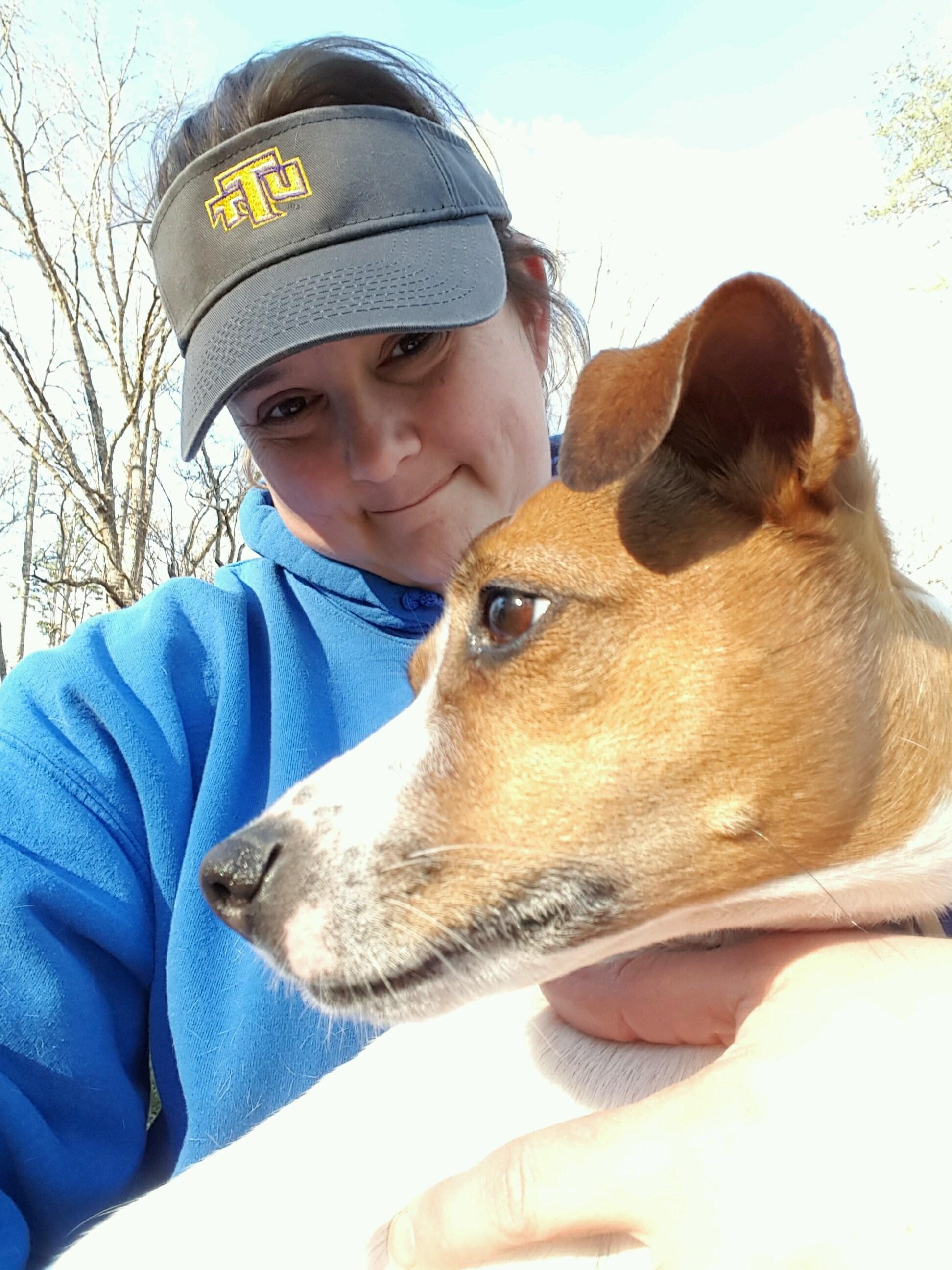 Jammie Lowery with her dog Josie