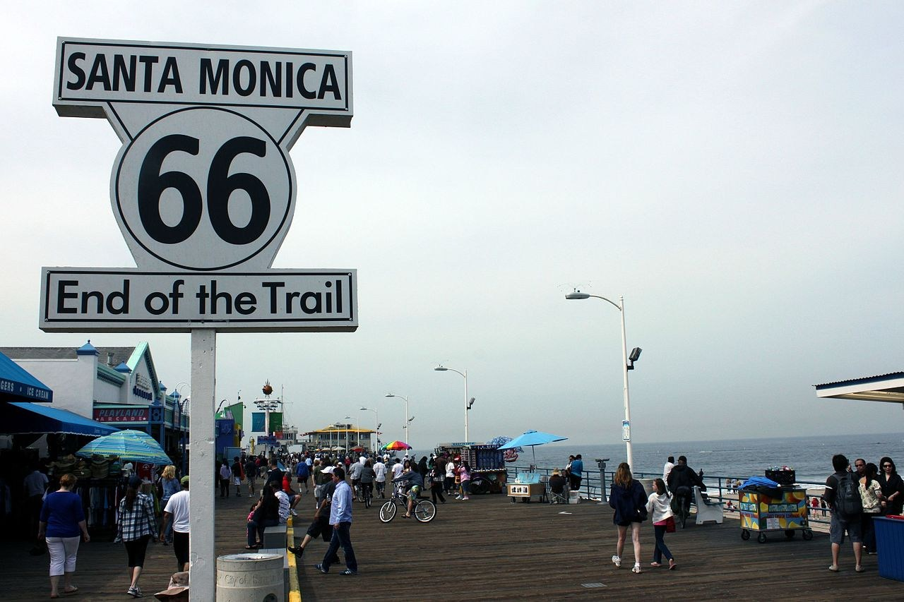 Santa Monica Route 66 Sign on Santa Monica Pier