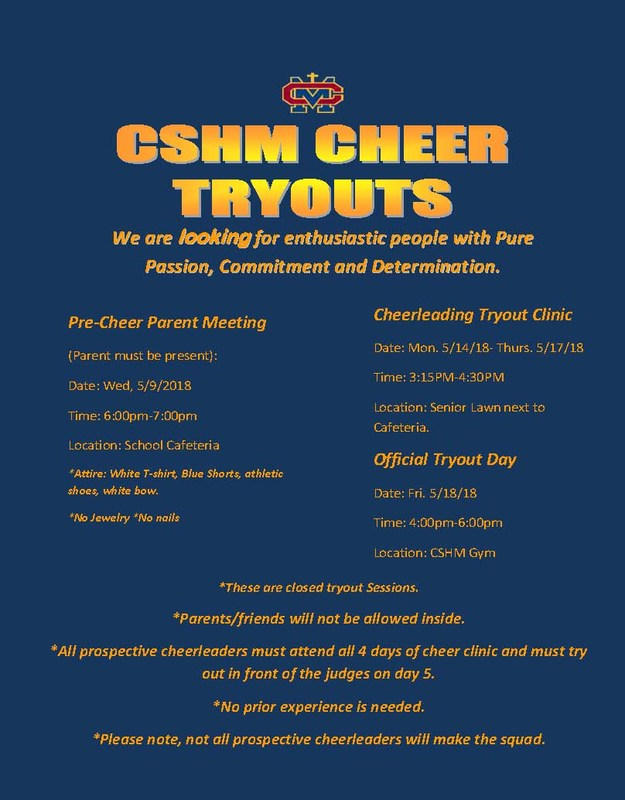 Cheer Tryouts will be Wednesday May 9th at 6PM in the Cafeteria Thumbnail Image