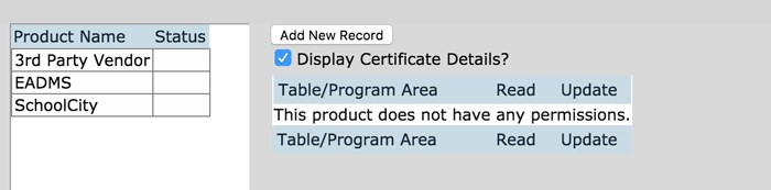 Add new record and display certificate details