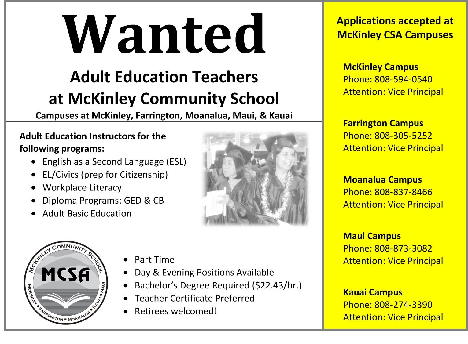 adult Jobs educaction openings