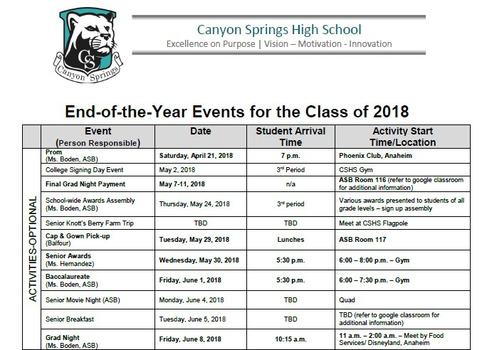 End of the Year Events Schedule