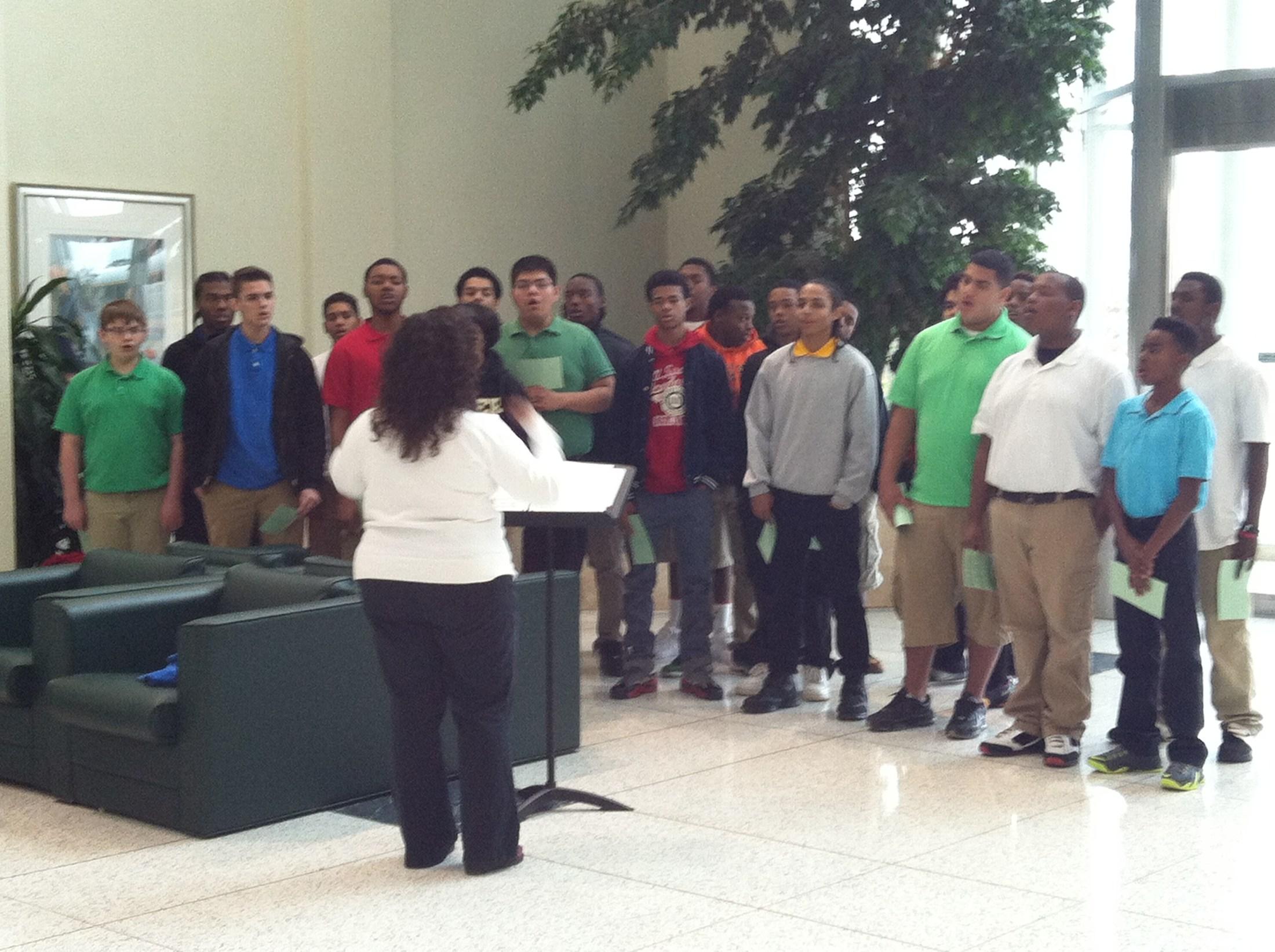 Boys singing at ETMC