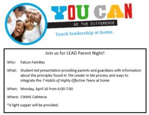 LEAD Parent Night Information