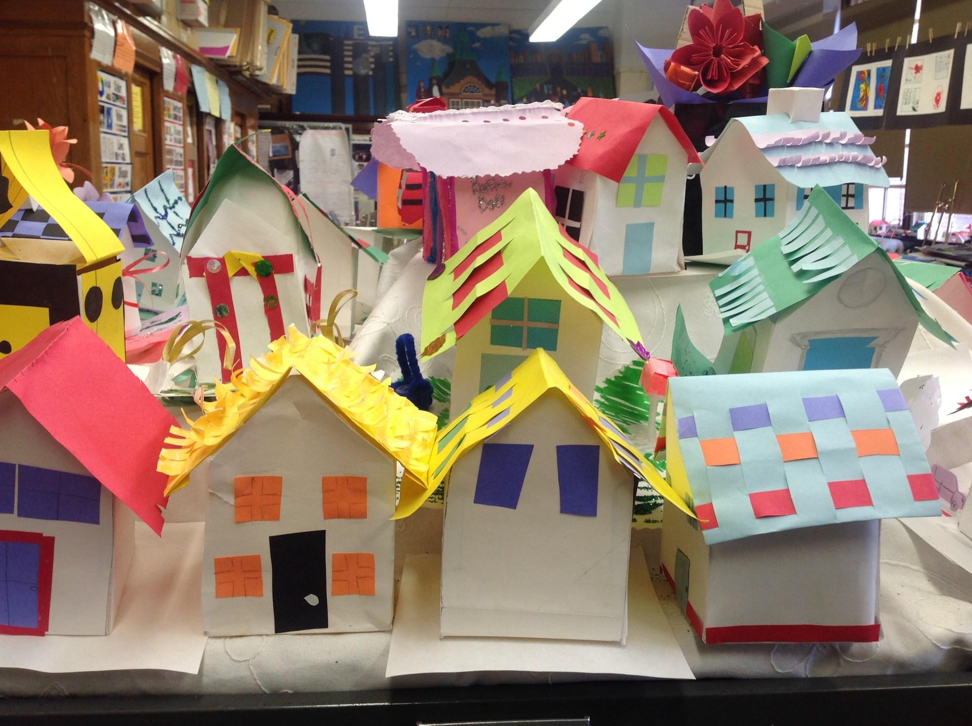 Paper sculpture houses