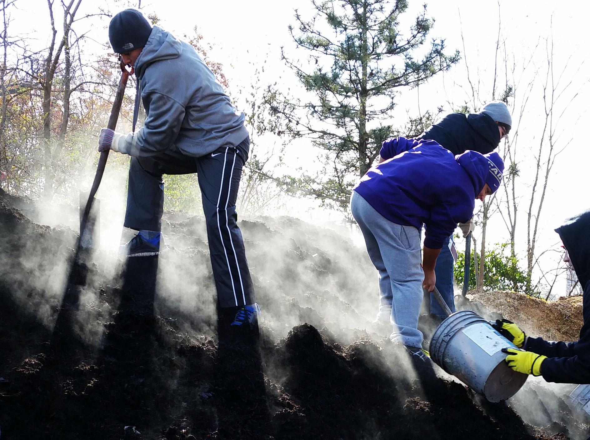 Students doing volunteer work