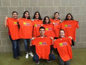 VMHS student holding t-shirts from the UTRGV Leadership Conference