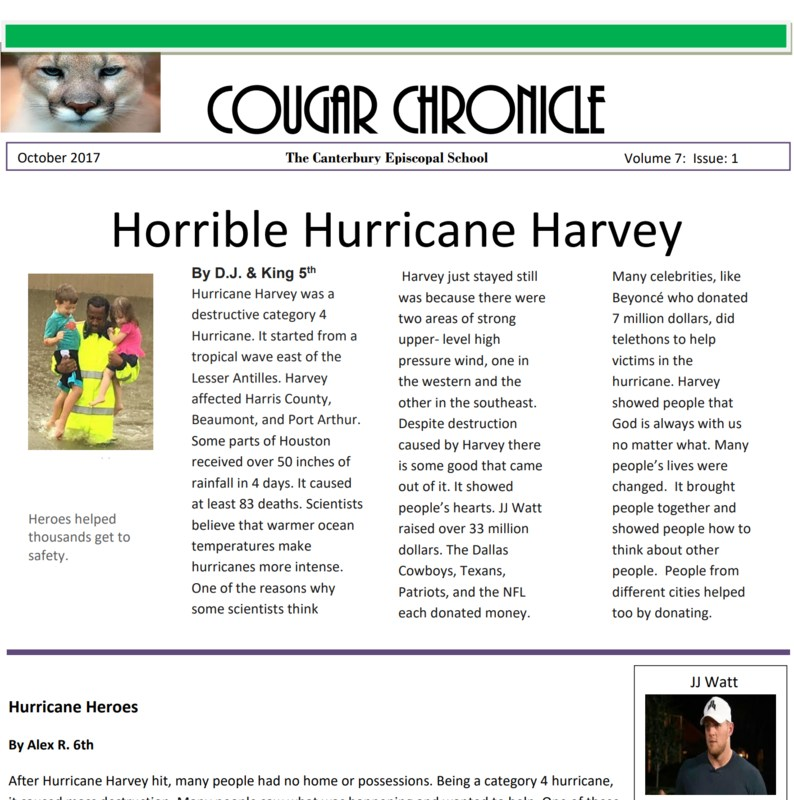 First Issue of the Cougar Chronicle for 2017 - 2018 Thumbnail Image
