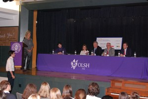 Students ask questions of the panel of business leaders and legislators.