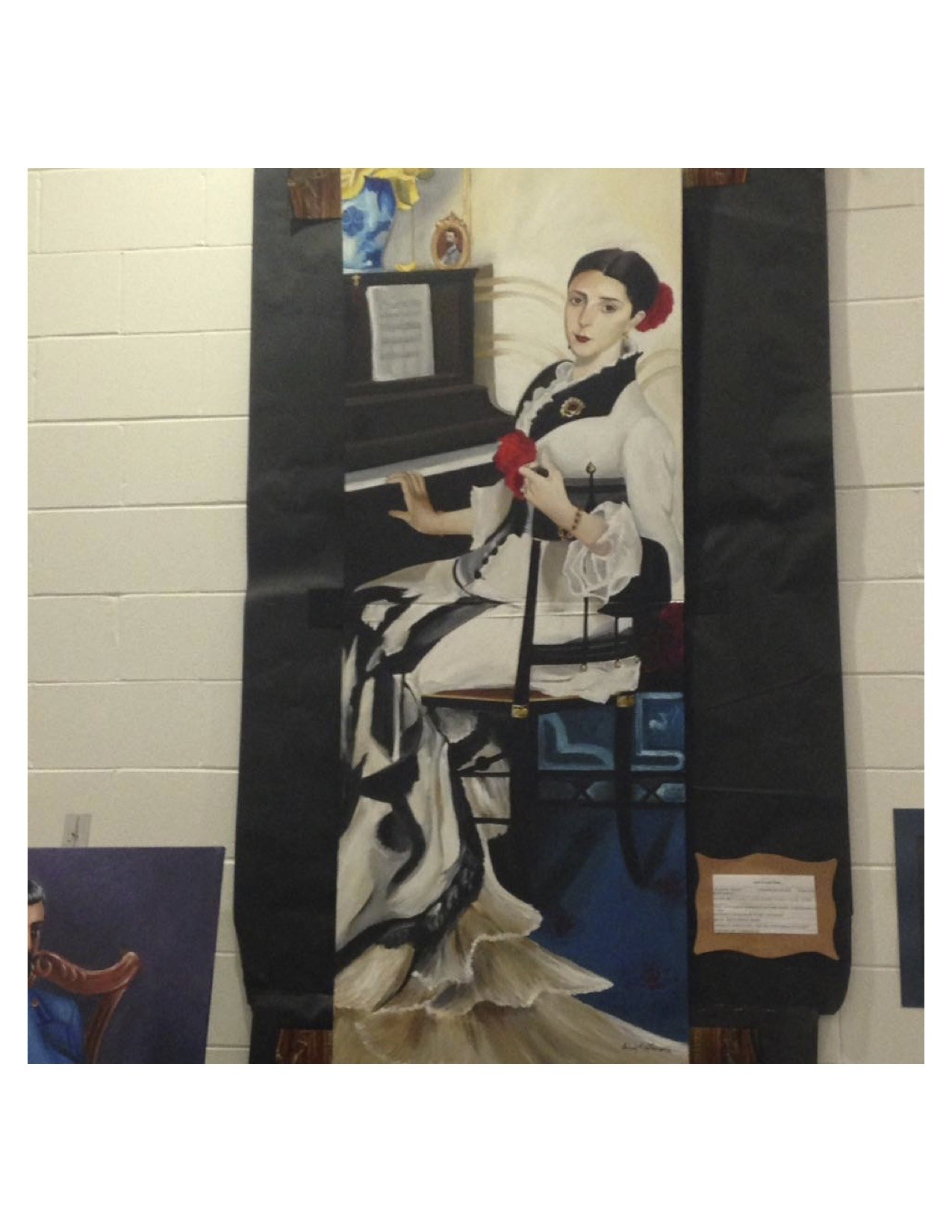 Union City High School Student artwork of an late 1800 regal women sitting at a piano