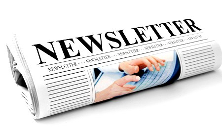 image of rolled newspaper with Newsletter headline