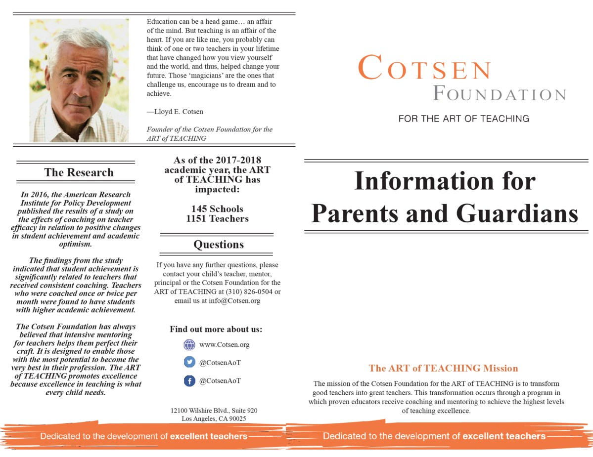 Cotsen Foundation Brochure 2017-18