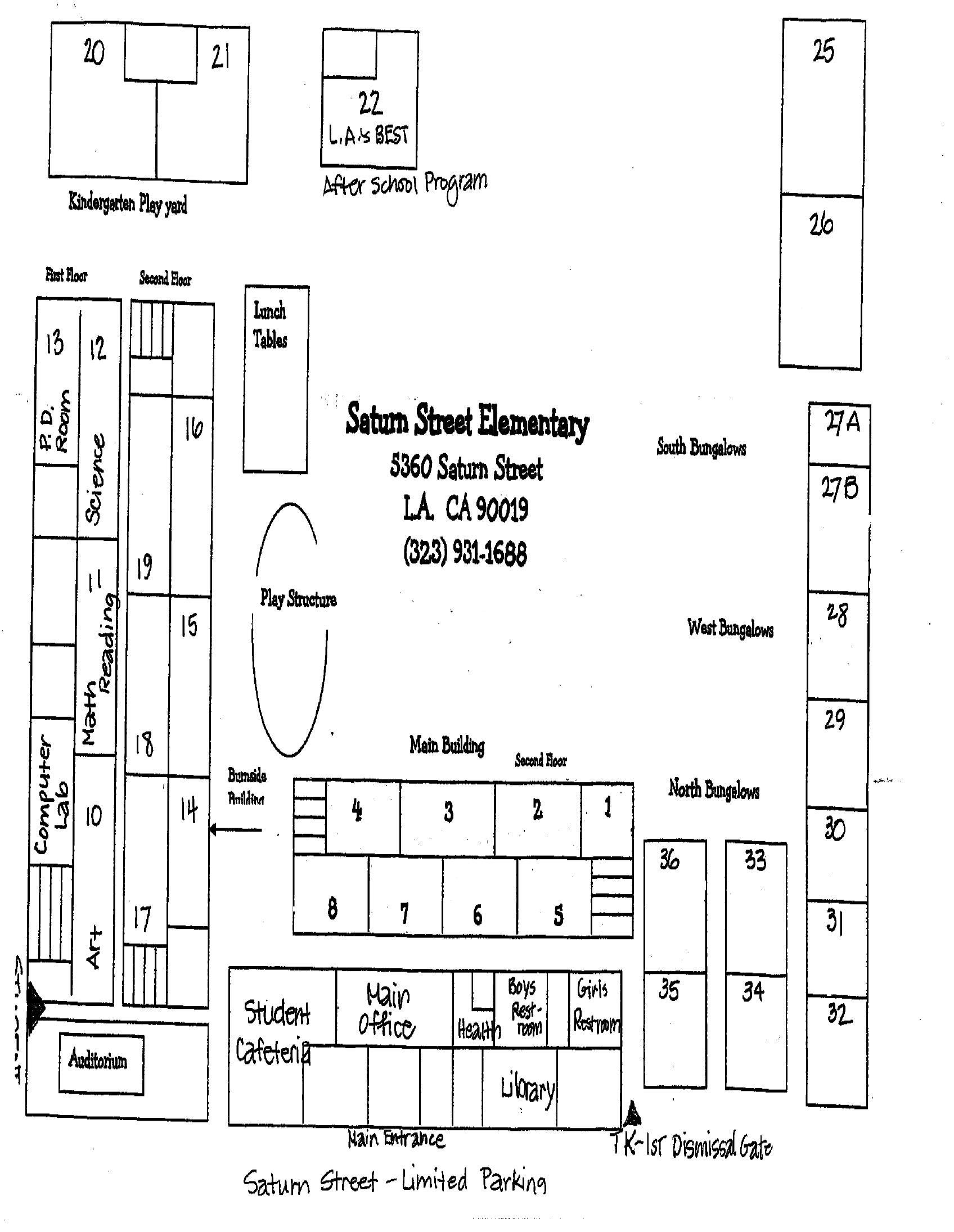 School Map  About Us  Saturn Street Elementary School - Los angeles unified map