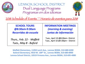 dual language schedule of events