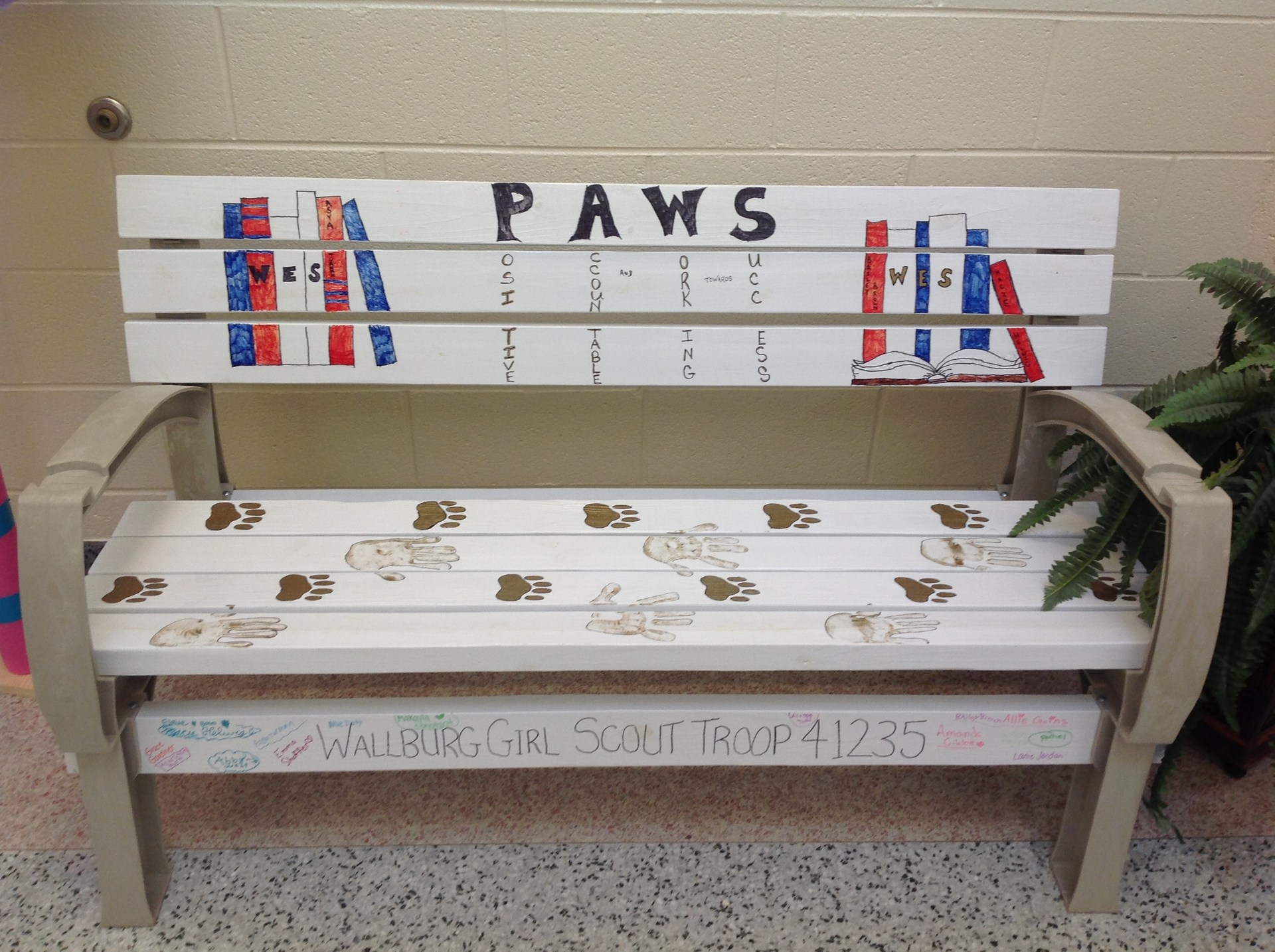 PAWS bench made by Girl Scouts