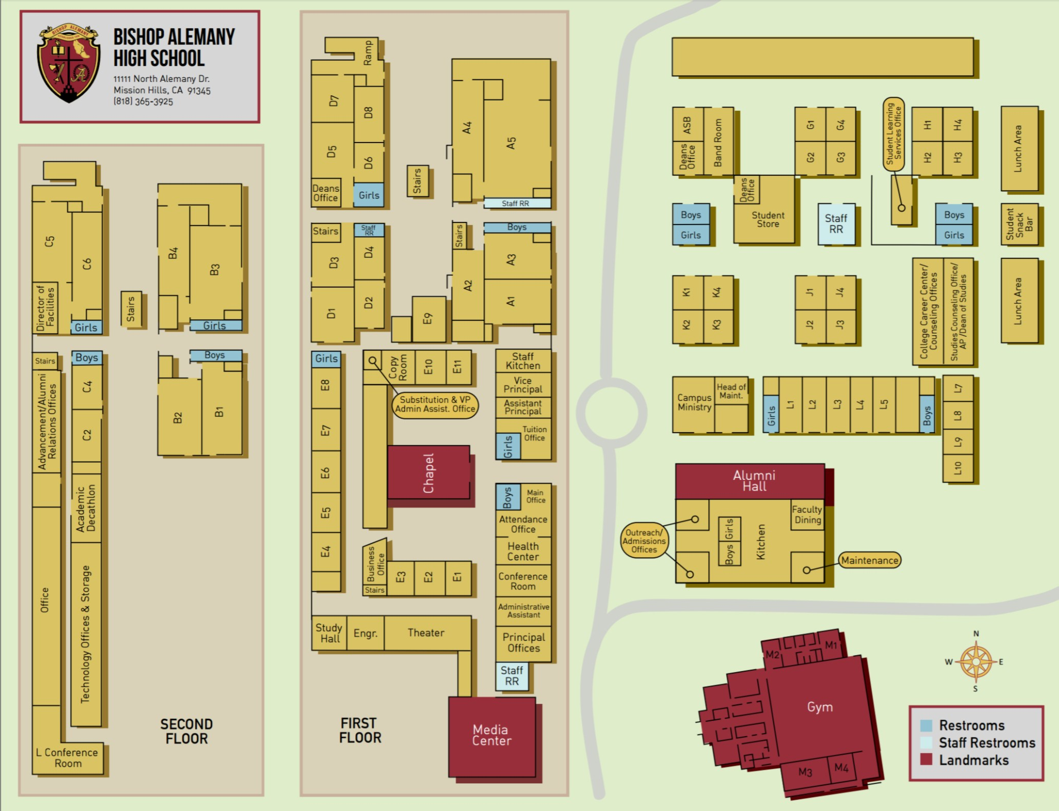 School Campus Map.Campus Map Directions Maps Bishop Alemany High School