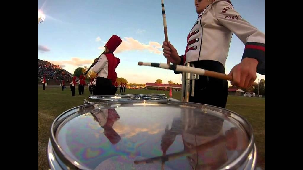 Drum line playing