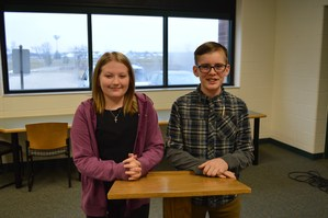 Sahara Coston and Cash Rabley earn TK Middle School spelling bee titles.