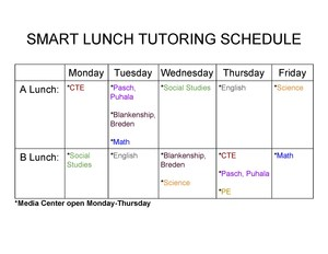 Smart Lunch Tutoring Schedule
