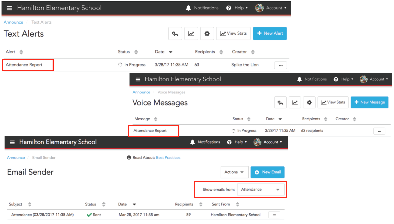 View attendance lists in Text Alerts, Voice Messages and Email Sender