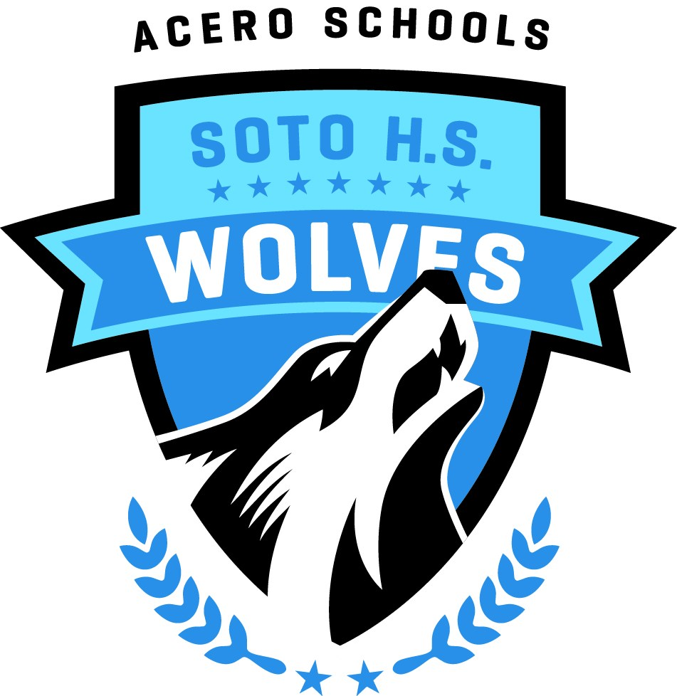 The Soto Wolves school logo, which depicts a howling wolf in front of a school coat of arms.
