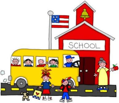 cartoon of school and schoolbus